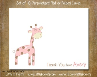 Baby Pink Giraffe Safari Note Cards Set of 10 personalized flat or folded cards
