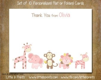 Baby Girl Pink Safari Animals Note Cards Set of 10 personalized flat or folded cards