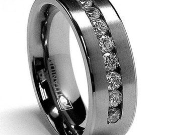 8MM Titanium Wedding Band, Mens Wedding Ring, Womens Wedding Ring, Anniversary Ring, Titanium Ring