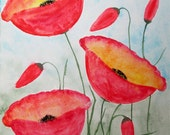 ORIGINAL   Abstract Watercolor  Painting   Red Poppies  Contemporary  Art   Modern  Flowers by Tanja Bell