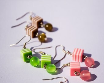 Funky Striped Cubes - Cube & Round Beads Earrings