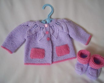 Hand Knitted Baby Yoked Matinee Coat Jacket and Shoe Set baby gift