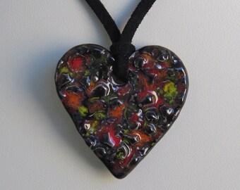 Ceramic Heart Pendant on a Black Micro Fiber Suede Cord