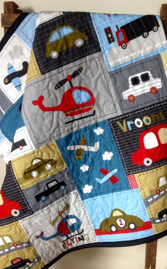 Baby Boy Quilt Vroom Vehicle Patchwork Panel Red Gray
