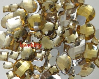 30 pcs lot --- Flat Back Gems / Beads- --- Champagne Mixed Shapes  Gems