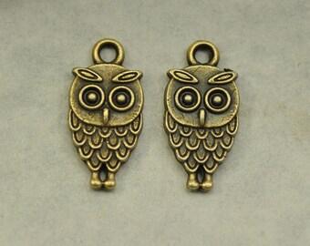 15pcs Mini Antique Bronze Owl Charms Pendant - 9x18mm Antique Brass Owl Beads Charms Pendant