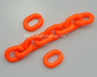 Open Link Chain, Pastel Mint Links, Acrylic Chain Links, Plastic Chunky Curb Chain, 14x20mm, Orange, Pkg of 50PCS, 55cm(approx 1.8ft)
