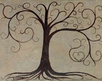 Thumb print Tree Guest Book Free Shipping prersonalized Alternative Wedding reunion going away graduation guest book tree finger print tree