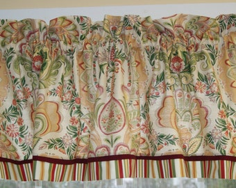 """Jay Yang Rampur Green Tan Red Pink Toile Valance 17"""" X 81"""" Drapery Weight  Curtain Can Alter"""