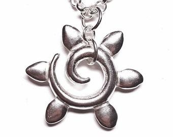 Sterling Silver Spiral Sun Pendant, Symbol of Life, light, Yang-energy