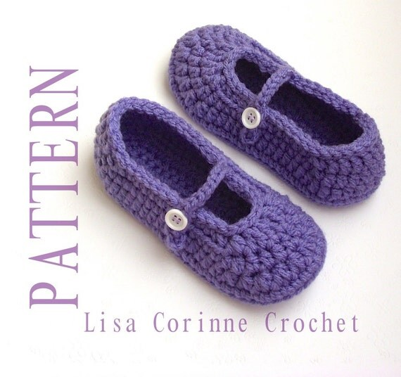 Crochet Patterns For Toddlers Slippers : Crochet Slipper PATTERNS Girls Slippers Crochet PATTERN Kids