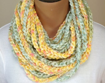 Crochet Chain Necklace Scarf Gold and Green Scarf