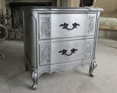 Silver Nightstand - Hollywood Glam aged silver patina