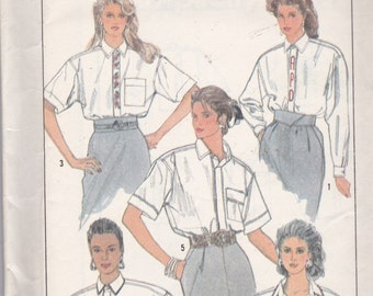 Simplicity 9027 Vintage Pattern Womens Shirt in 5 Variations Size 10,12,14