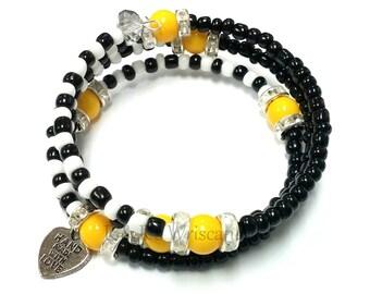 Black and White Beaded Bracelet, Coil Bracelet, Beaded Coil Bracelet, Wire Bracelet