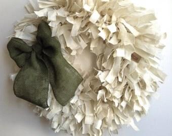 "Spring Wreath, 26"", St. Patricks Day Wreath, Christmas Wreath, White Wreath, Everyday Wreath, Rustic Wreath"