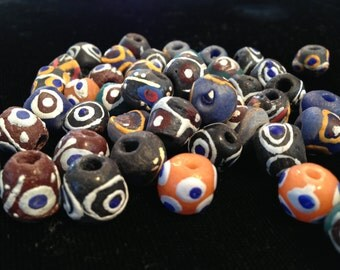 African Sand Cast Eye Beads ( Sold in Sets of Five)