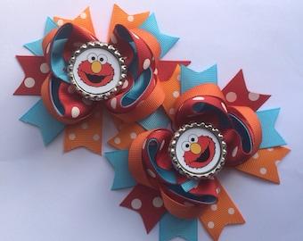 Elmo hair bow set