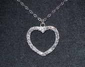 Crystal Open Heart Swarovski Charm Pendant Necklace