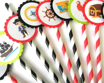 12 Pirate Party Straws, Boy Birthday, Pirate Theme, First Birthday, Ahoy Matey, Birthday Straws, Pirate Birthday, Baby Shower, Pirate Boat