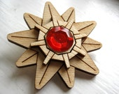Wood Starmie Brooch