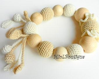 Teething toy Teething ring Baby teether Crochet Wood teether Crochet teething toy Gift for baby
