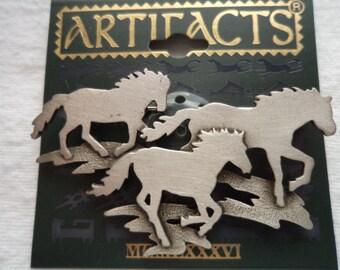 Vintage Signed JJ Silver pewter Herd of Running Wild Horses Brooch/Pin