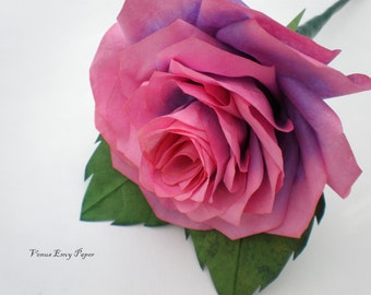 Pink and Purple paper rose, Braydy Rose, Baby Girl Paper Flower, PAILA Pregnancy and Infant Loss Awareness Support Angel Baby Rememberance
