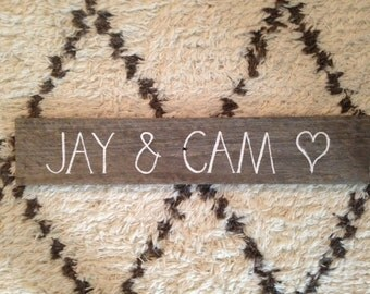 Rustic Wedding Timber Signs with YOUR NAMES