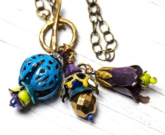 BE BOLD Sale! Happy on a chain!  Torch-fired enamel flower cluster in blues and purples.  Handmade OOAK by ladeDAH! jewelry.
