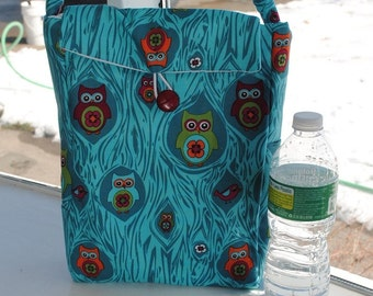 Resuable Lunch Bag Sack Owl Turquoise Oversized Insulated Picnic Pouch