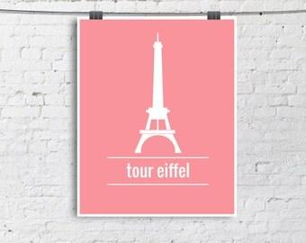 Eiffel Tower - illustration Poster - paris monument - minimalist Print - blue, green, yellow, pink - 8x10