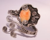 silver cuff bracelet-cuff bracelet-sunstone cuff bracelet- wire wrapped jewelry handmade-wire wrapped cuff bracelet-wire wrapped bracelet