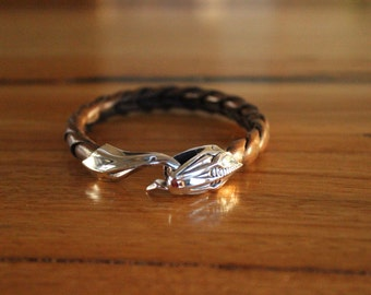 Handmade Solid Sterling Silver Bangle with Snake's Head Clasp with Plaited Leather band