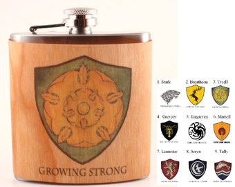 Game of Thrones flask Wood gift Stark , Baratheon Targaryen Lannister, Tyrell