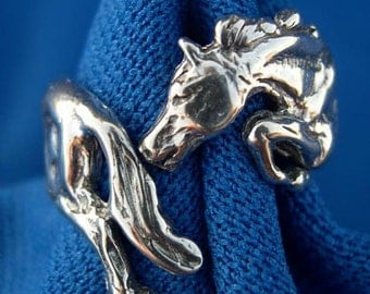 Equestrian jewelry jumping horse ring  STERLING SILVER One size adjustable  Zimmer design