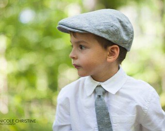 Gray linen newsboy hat and necktie set, summer photo prop for baby boy, gray wedding ring bearer hat and tie set -  made to order