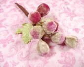 Velvet Millinery Berries Grapes Spray Creamy Pale Beige Mauve Pink with Leaves for Hats, Floral Arrangements