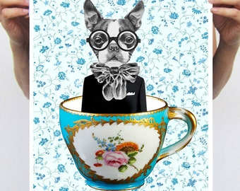 Frenchie In A Cup : Art Print Poster A3 Illustration Giclee Print Wall art Wall Hanging Wall Decor Animal Painting Digital Art