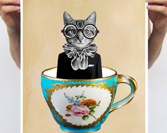 Art Print A3 Original Illustration Giclee Print Wall art Wall Hanging Wall Decor Animal Painting Digital Art : Cat In A Cup
