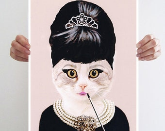 Audrey Hepburn Cat: Print Poster Illustration Acrylic Painting Animal Portrait Wall Decor Wall hanging Wall Art Drawing Glicee