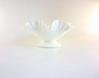 Fenton Milk Glass Hobnail Fruit Bowl