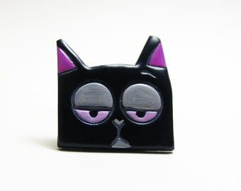 Black stray cat brooch polymer clay