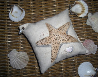 Country French Handpainted Starfish and Shell Balsam Fir Pillow One-of-a-Kind Great Wedding Favor