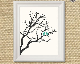 Printable wall art decor print, Birds in a Tree print, silhouette branch with birds digital image, INSTANT DOWNLOAD