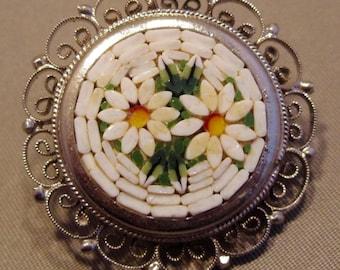 Vintage Italian Silver Toned Metal White Daisy Micro Mosaic Brooch