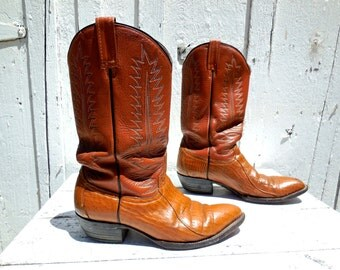 Mens COWBOY BOOTS/Vintage Cowboy Boots/Distressed Boots/Mexican Cowboy Boots/Riding Boots/Western Boots/Rodeo Boots/COWTOWN/Mens 9.5 D