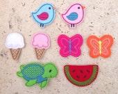 Feltie Grab Bag - DIY Hair Clips (8) - Spring/Summer Assortment -  Felt Embroidery Embellishment