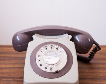 60's Classic BRITISH Retro Rotary Dial Telephone in Two Tone Coffee