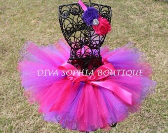 Hot Pink and Purple Tutu Set for Newborn - Infants - Toddlers